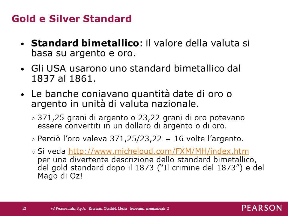 Gold e Silver Standard Standard bimetallico: il valore della valuta si basa su argento e oro.