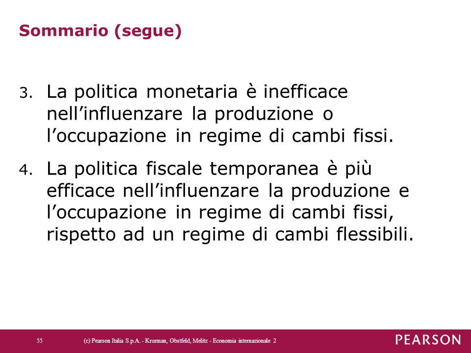 Sommario (segue) La politica monetaria è inefficace nell'influenzare la produzione o l'occupazione in regime di cambi fissi.