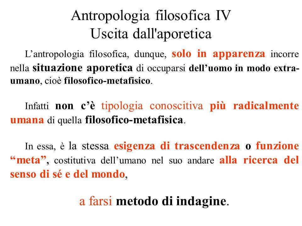Antropologia filosofica IV Uscita dall aporetica