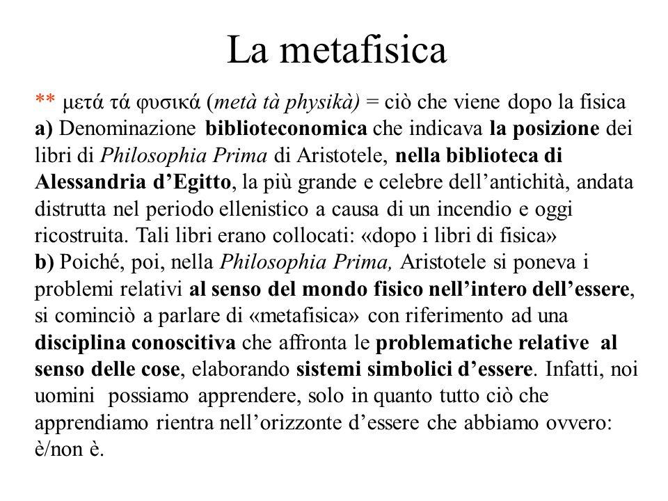 La metafisica ** μετά τά φυσικά (metà tà physikà) = ciò che viene dopo la fisica.