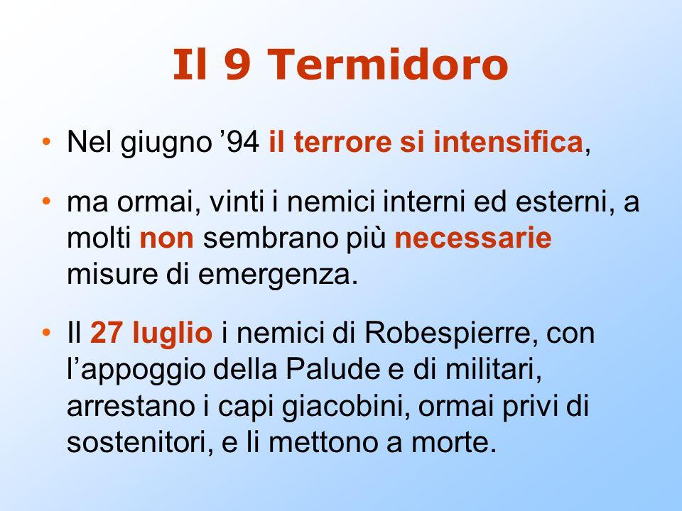 Il 9 Termidoro Nel giugno '94 il terrore si intensifica,