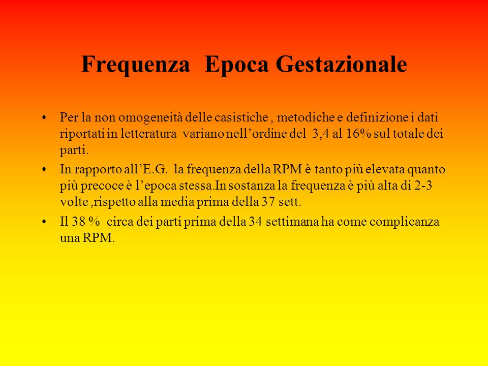 Frequenza Epoca Gestazionale