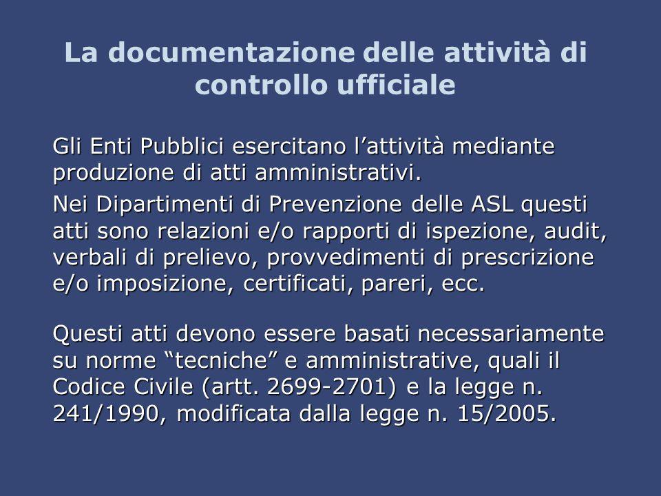 La documentazione delle attività di controllo ufficiale
