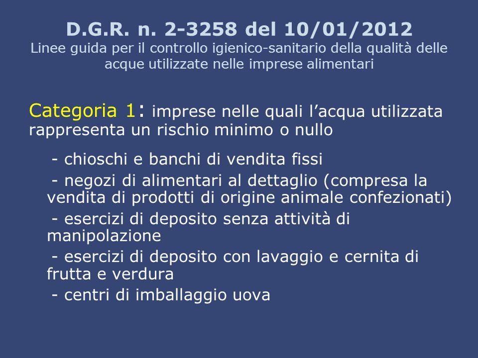 D.G.R. n. 2-3258 del 10/01/2012 Linee guida per il controllo igienico-sanitario della qualità delle acque utilizzate nelle imprese alimentari