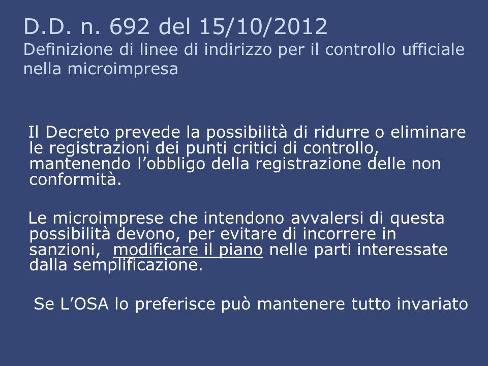 D.D. n. 692 del 15/10/2012 Definizione di linee di indirizzo per il controllo ufficiale nella microimpresa
