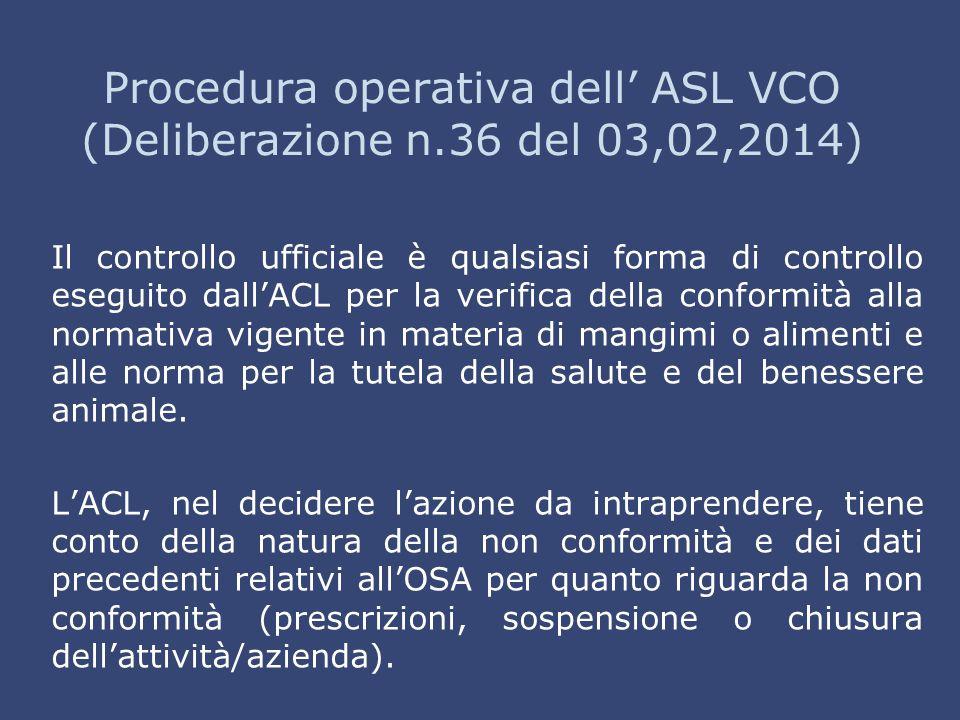 Procedura operativa dell' ASL VCO (Deliberazione n.36 del 03,02,2014)