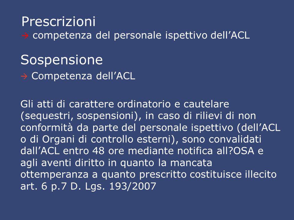 Prescrizioni  competenza del personale ispettivo dell'ACL