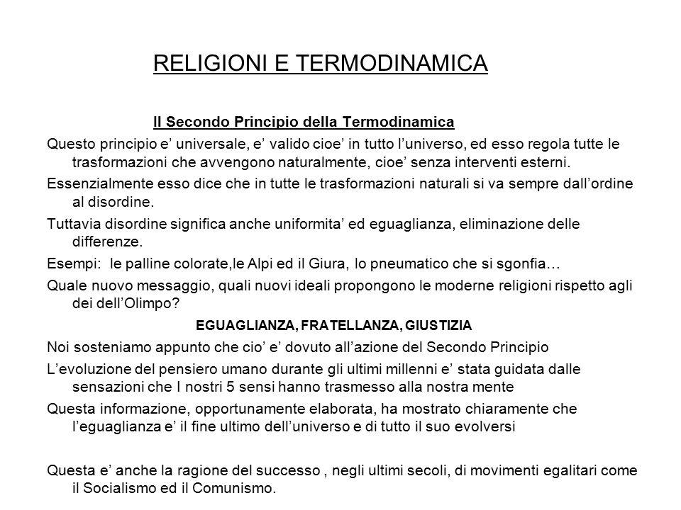 RELIGIONI E TERMODINAMICA