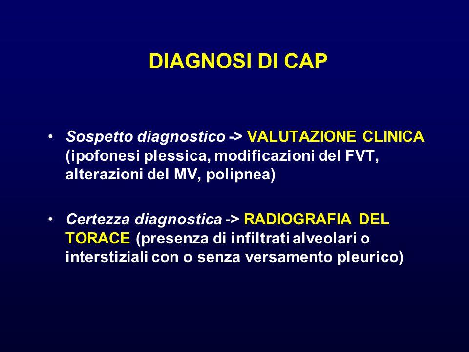 DIAGNOSI DI CAP Sospetto diagnostico -> VALUTAZIONE CLINICA (ipofonesi plessica, modificazioni del FVT, alterazioni del MV, polipnea)