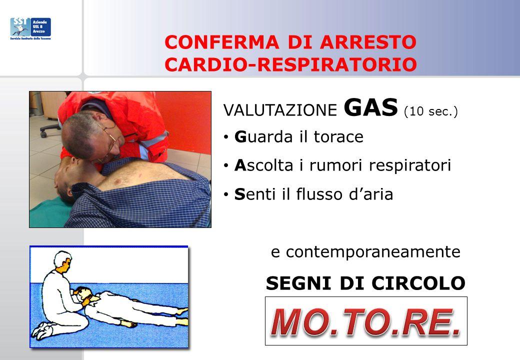 MO.TO.RE. CONFERMA DI ARRESTO CARDIO-RESPIRATORIO SEGNI DI CIRCOLO