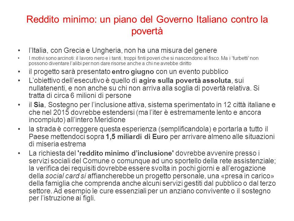 Reddito minimo: un piano del Governo Italiano contro la povertà
