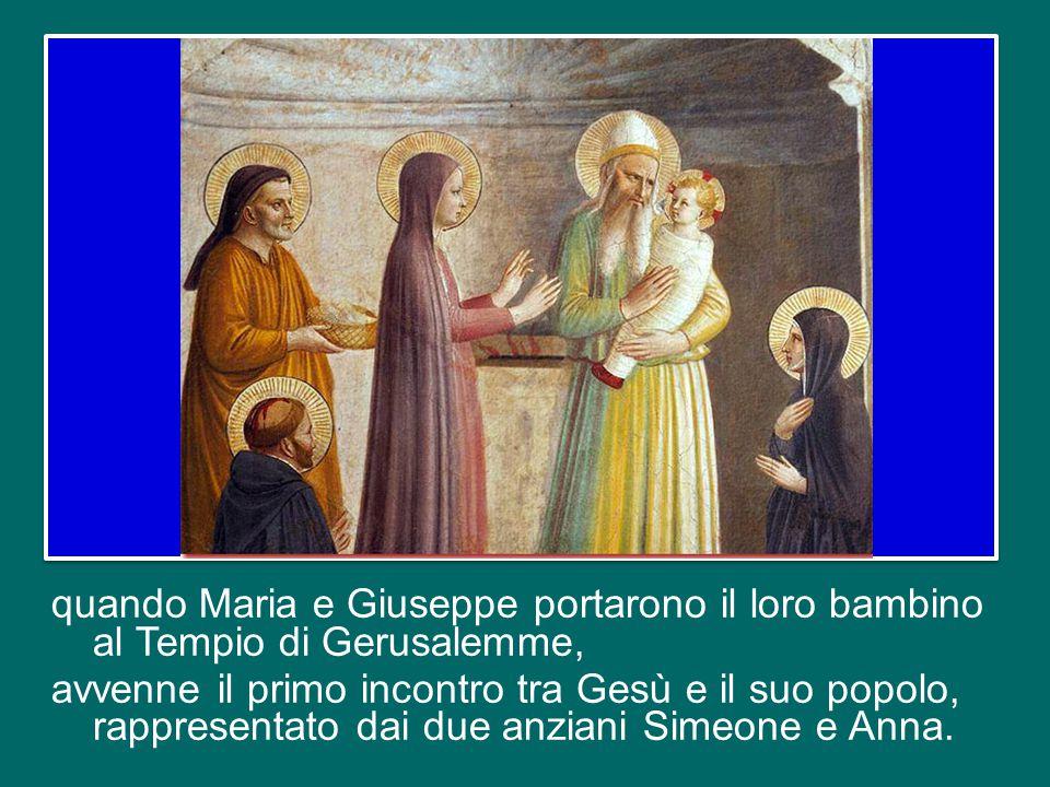 quando Maria e Giuseppe portarono il loro bambino al Tempio di Gerusalemme, avvenne il primo incontro tra Gesù e il suo popolo, rappresentato dai due anziani Simeone e Anna.