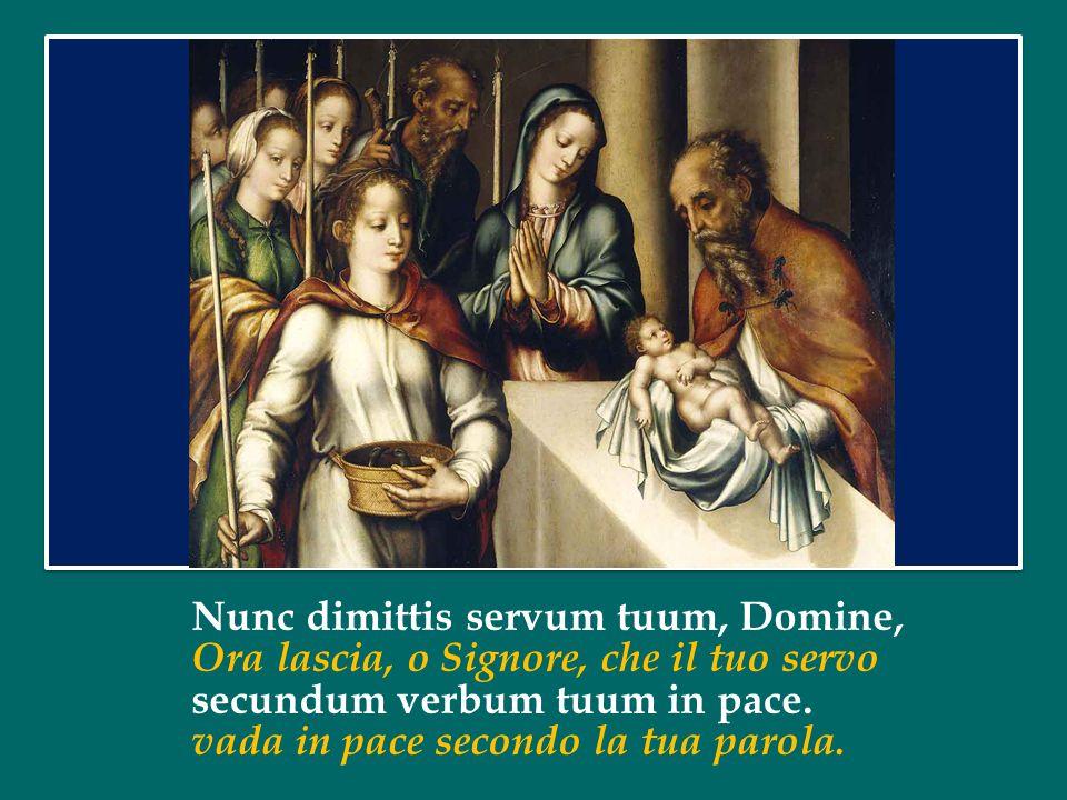 Nunc dimittis servum tuum, Domine, Ora lascia, o Signore, che il tuo servo secundum verbum tuum in pace.