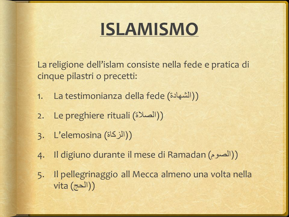 ISLAMISMO La religione dell'islam consiste nella fede e pratica di cinque pilastri o precetti: La testimonianza della fede ((الشهادة)