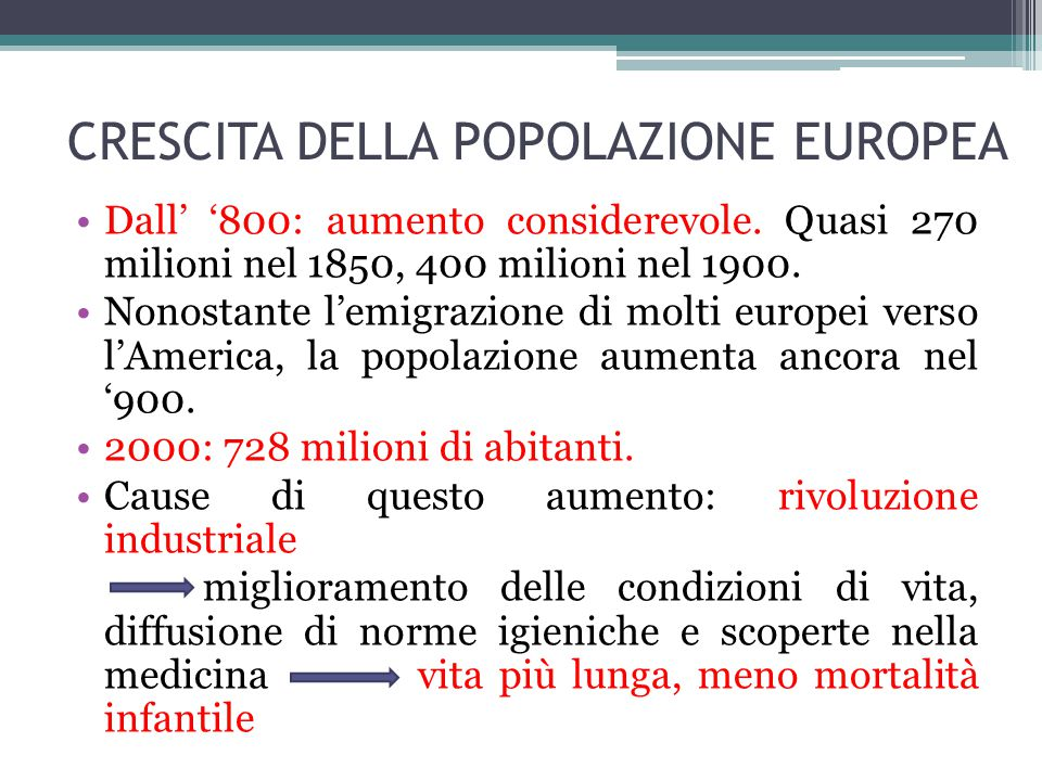 CRESCITA DELLA POPOLAZIONE EUROPEA