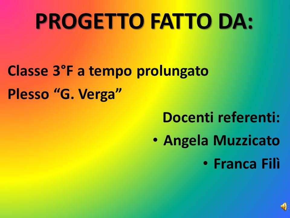 PROGETTO FATTO DA: Classe 3°F a tempo prolungato Plesso G. Verga