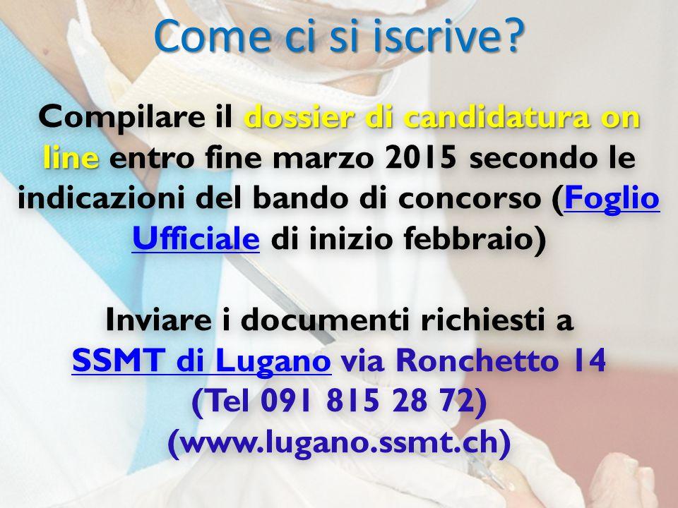 Inviare i documenti richiesti a SSMT di Lugano via Ronchetto 14