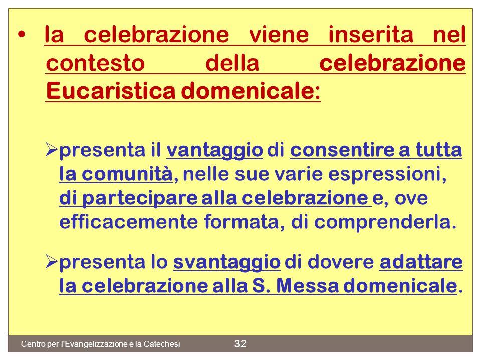 • la celebrazione viene inserita nel. contesto della celebrazione