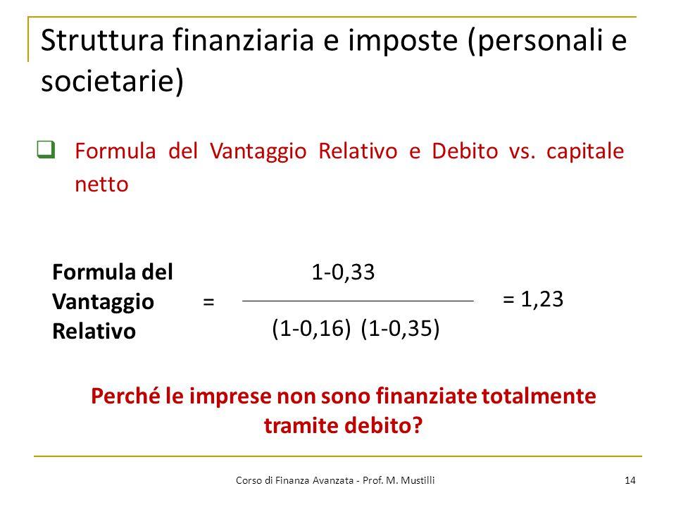 Struttura finanziaria e imposte (personali e societarie)