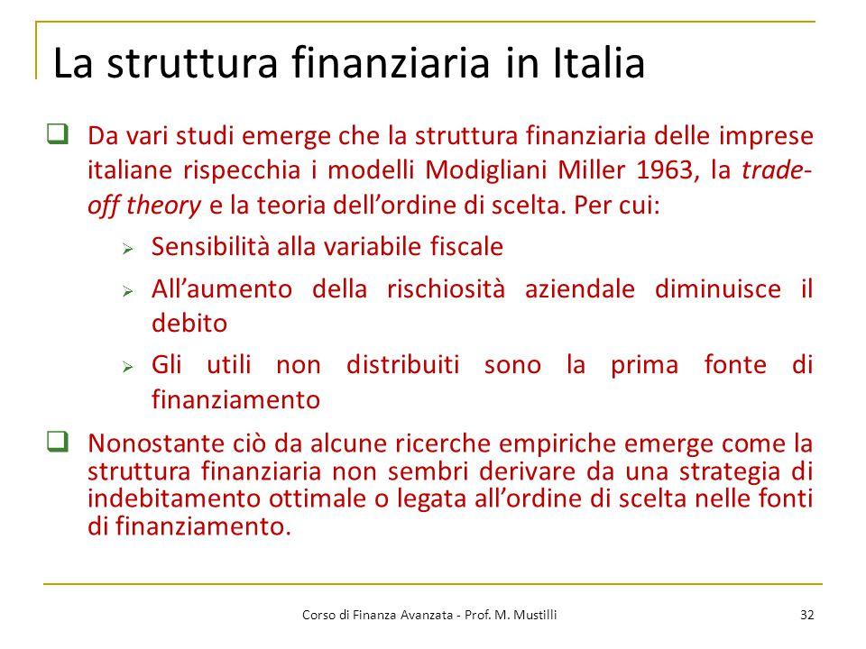 La struttura finanziaria in Italia