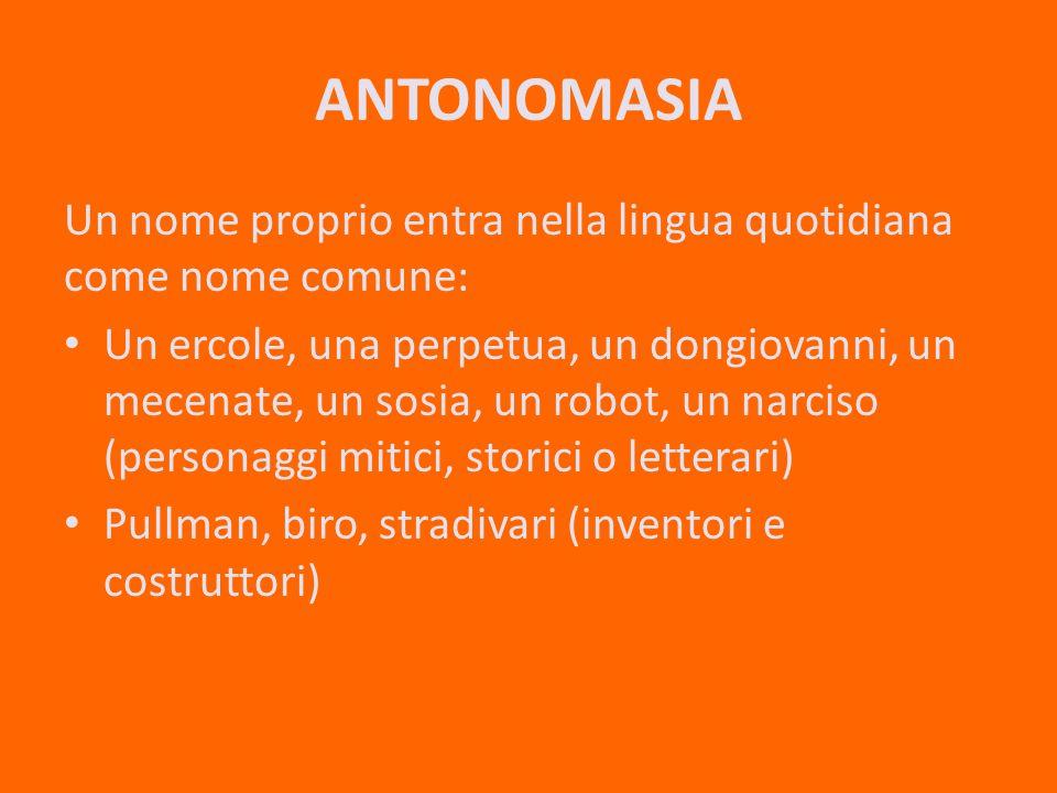 ANTONOMASIA Un nome proprio entra nella lingua quotidiana come nome comune: