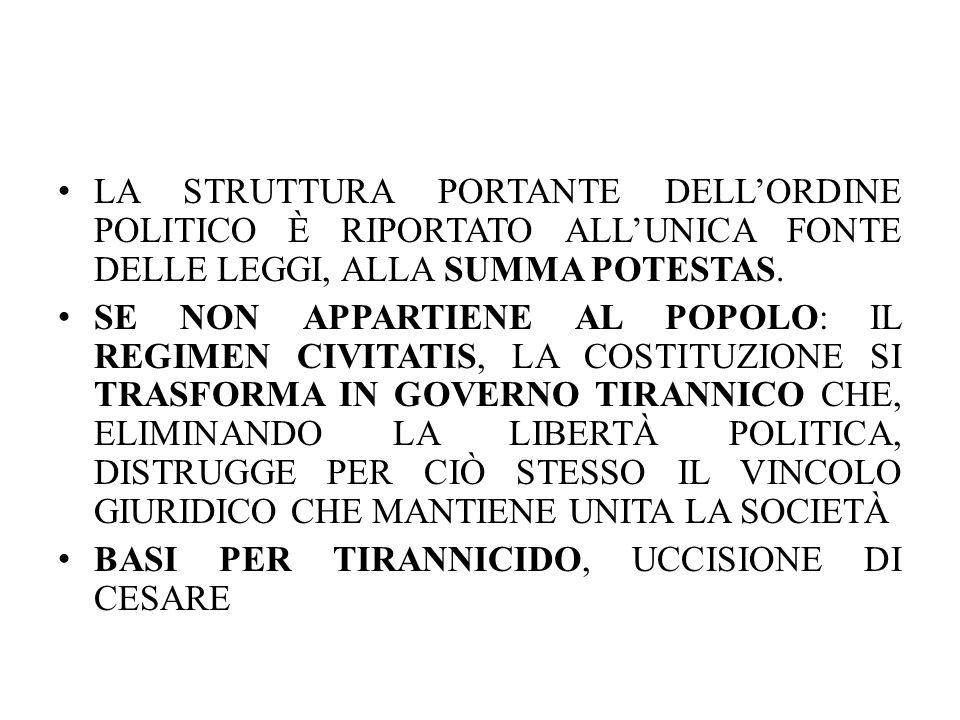 LA STRUTTURA PORTANTE DELL'ORDINE POLITICO È RIPORTATO ALL'UNICA FONTE DELLE LEGGI, ALLA SUMMA POTESTAS.