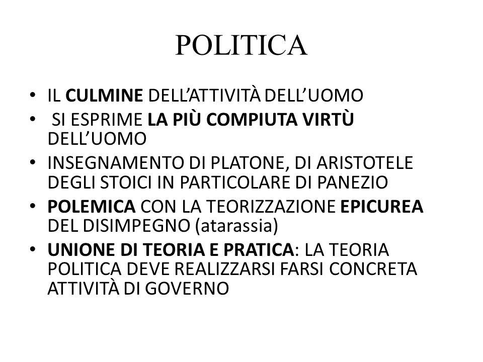 POLITICA IL CULMINE DELL'ATTIVITÀ DELL'UOMO