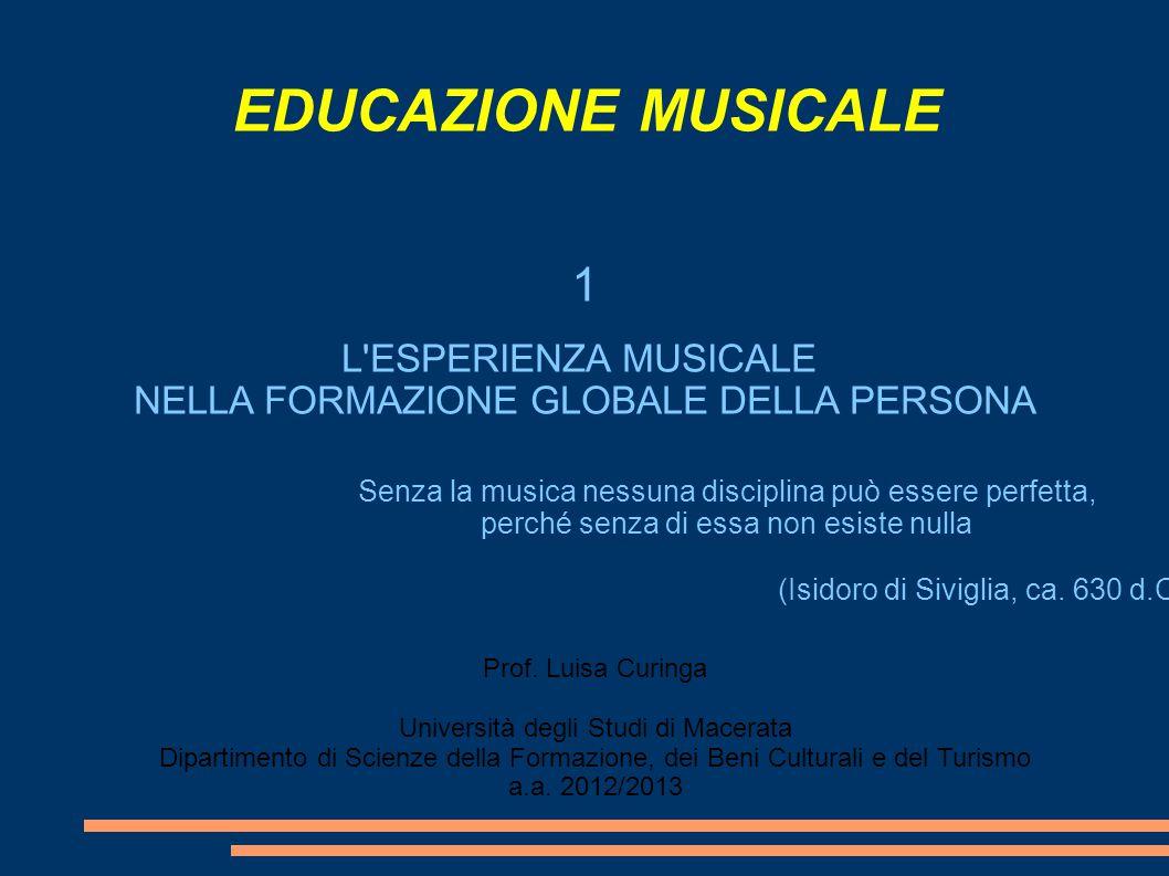 EDUCAZIONE MUSICALE 1 L ESPERIENZA MUSICALE