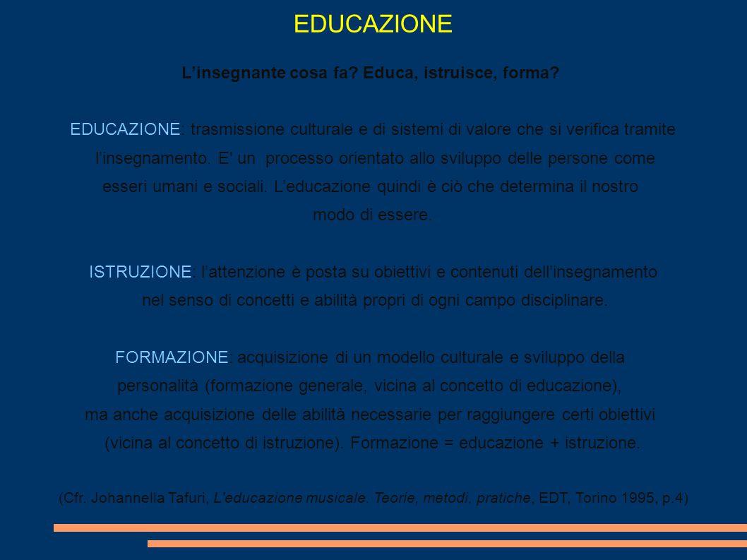 EDUCAZIONE L'insegnante cosa fa Educa, istruisce, forma