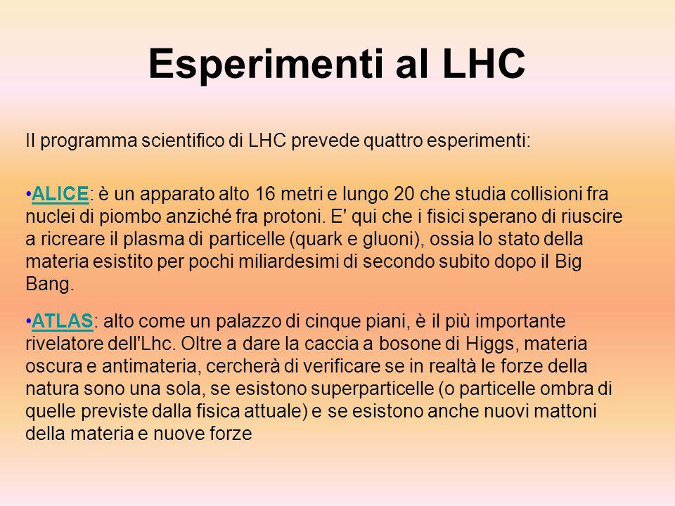 Esperimenti al LHC Il programma scientifico di LHC prevede quattro esperimenti: