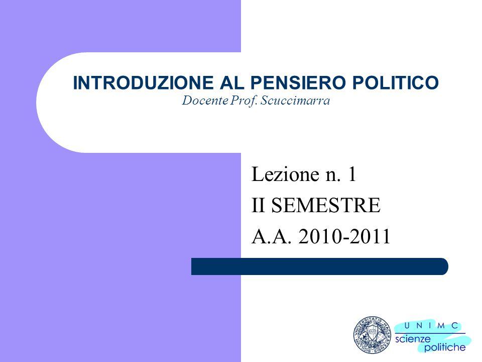 INTRODUZIONE AL PENSIERO POLITICO Docente Prof. Scuccimarra