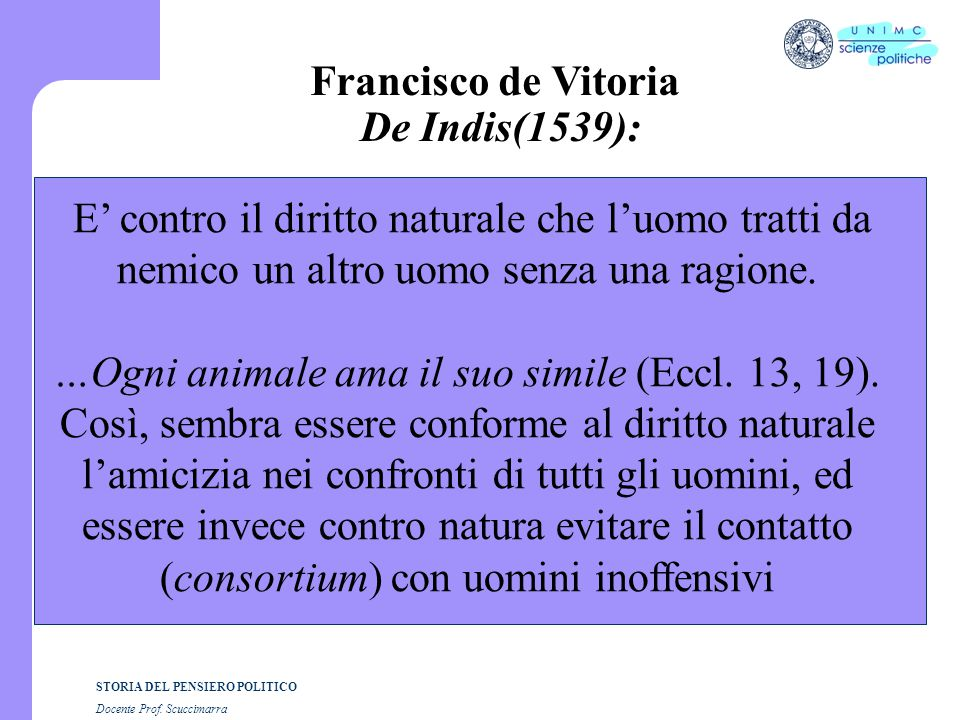 Francisco de Vitoria De Indis(1539):