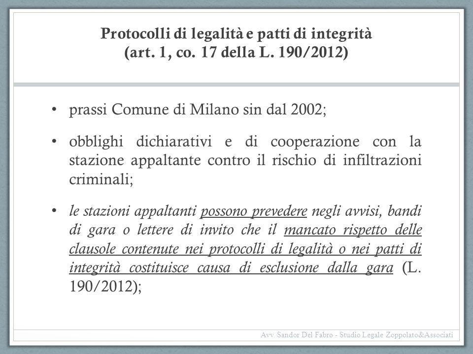 prassi Comune di Milano sin dal 2002;