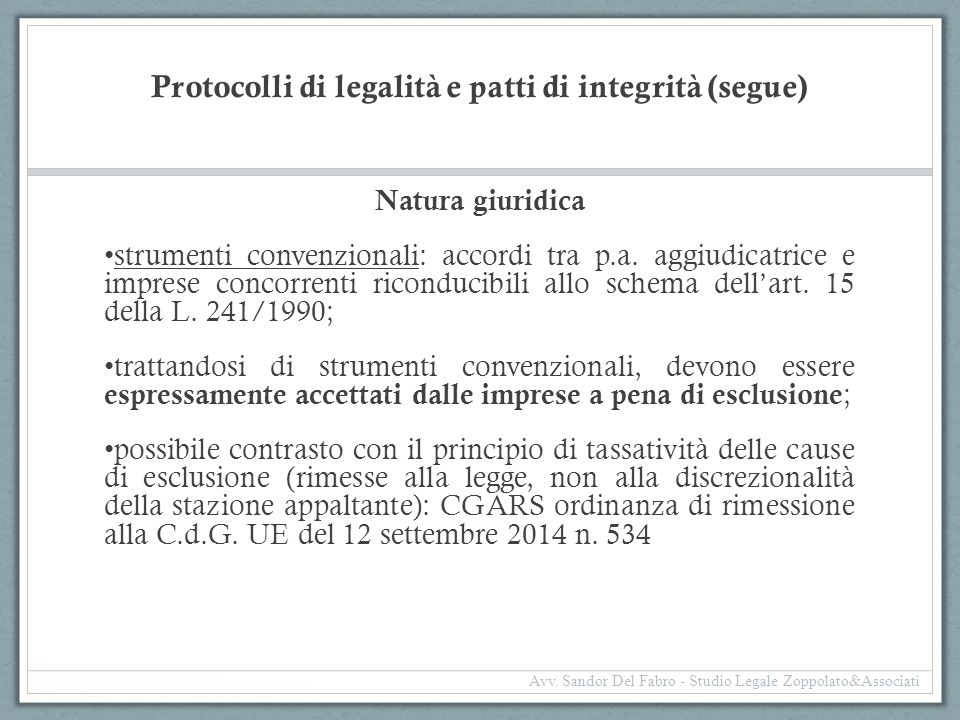 Protocolli di legalità e patti di integrità (segue)