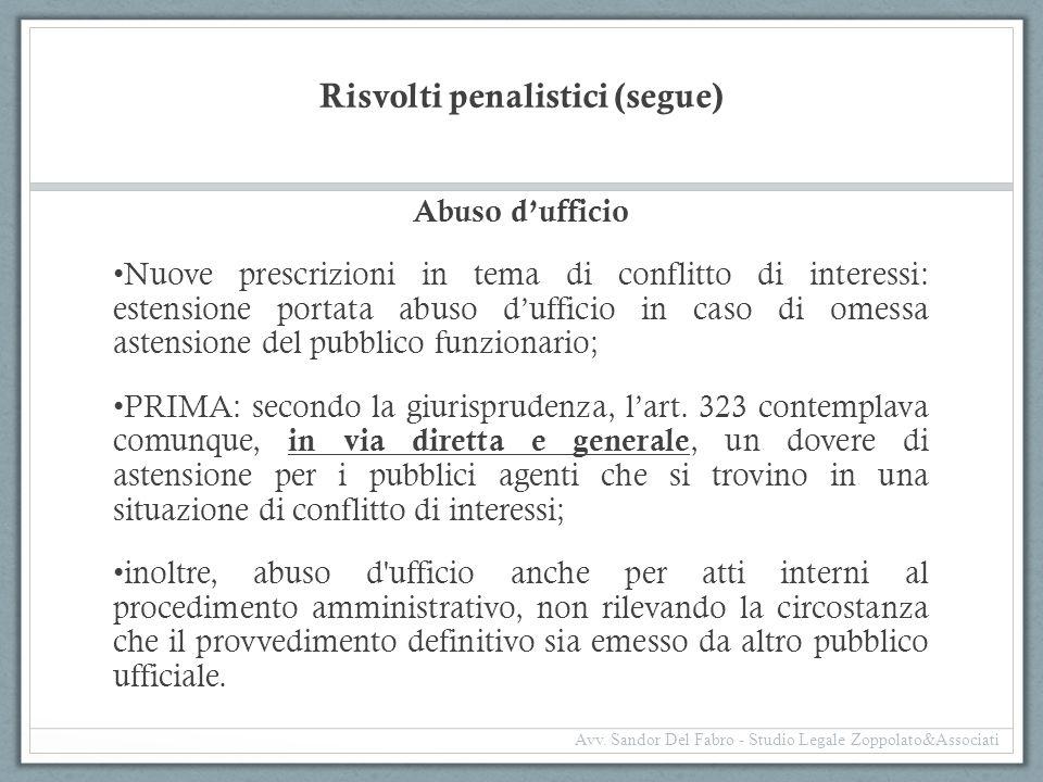 Risvolti penalistici (segue)