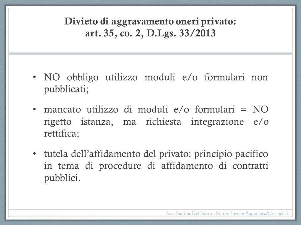 Divieto di aggravamento oneri privato: art. 35, co. 2, D.Lgs. 33/2013