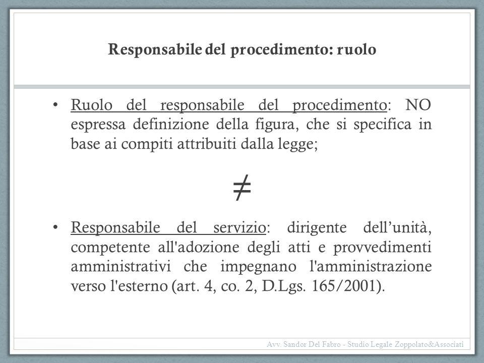 Responsabile del procedimento: ruolo