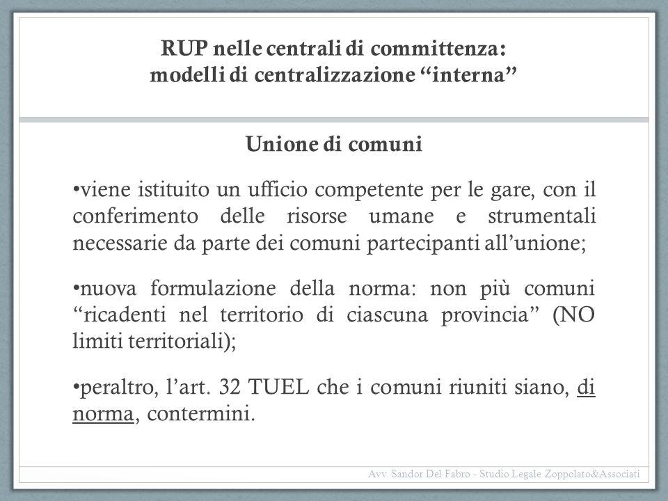 RUP nelle centrali di committenza: modelli di centralizzazione interna