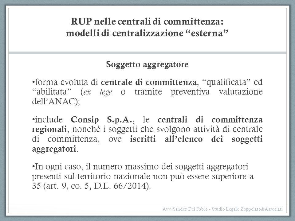 RUP nelle centrali di committenza: modelli di centralizzazione esterna