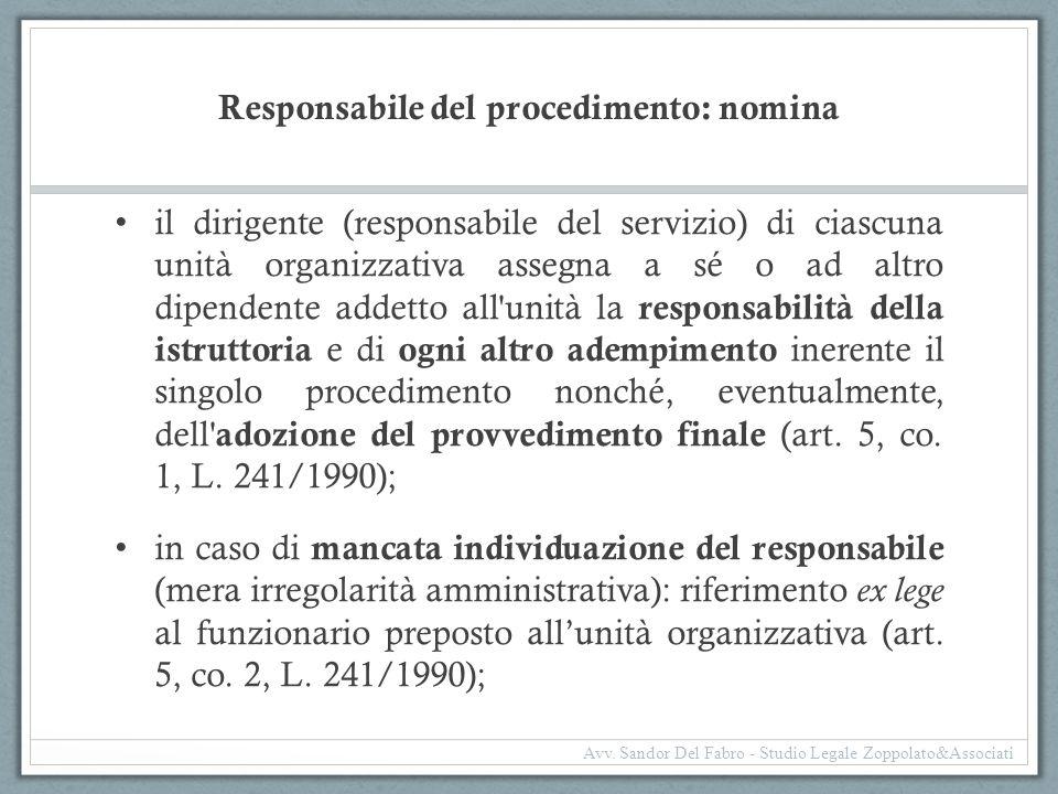 Responsabile del procedimento: nomina