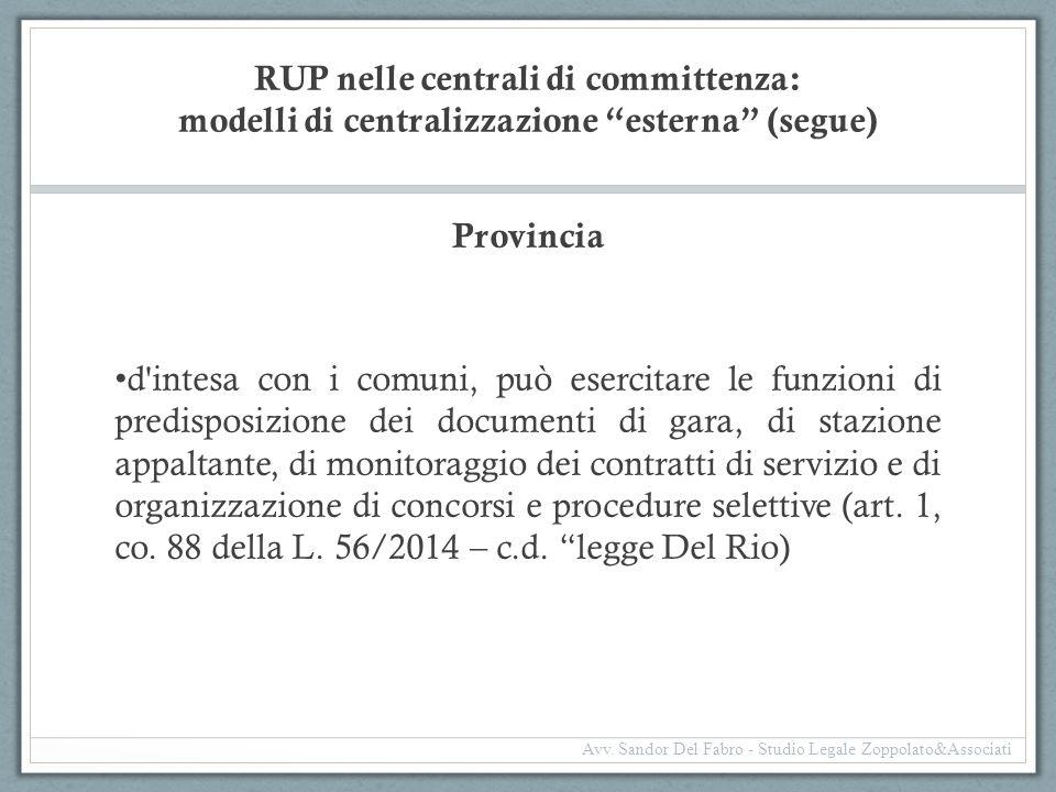 RUP nelle centrali di committenza: modelli di centralizzazione esterna (segue)