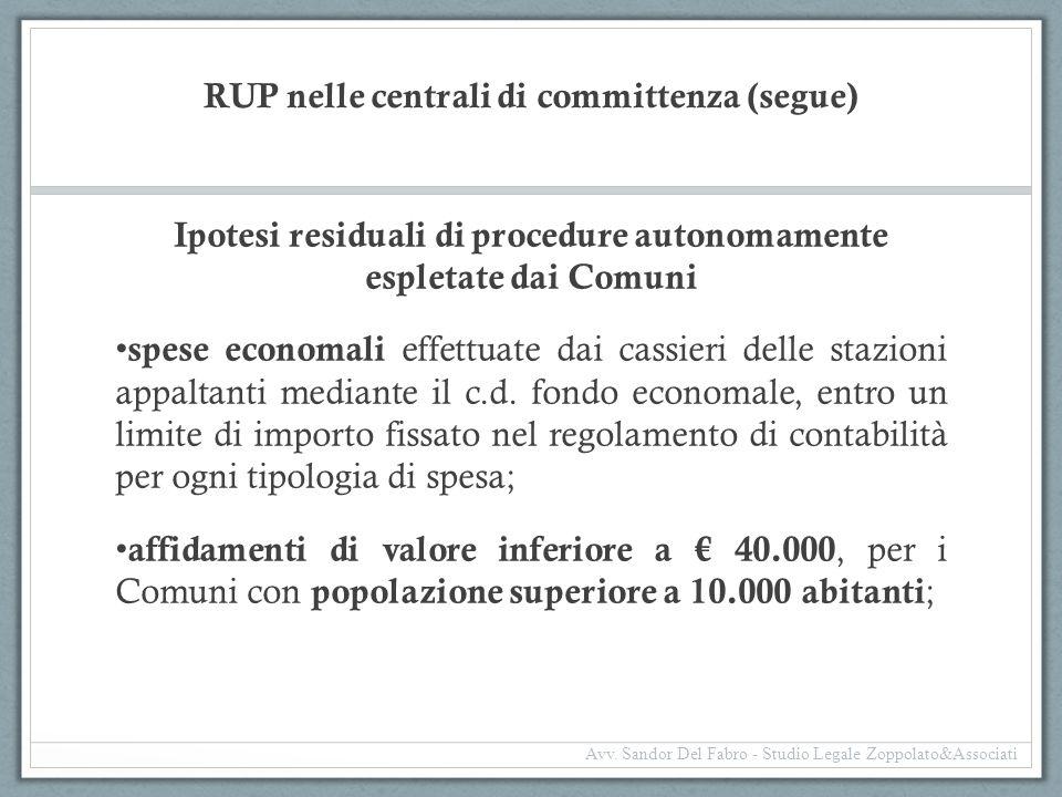 RUP nelle centrali di committenza (segue)