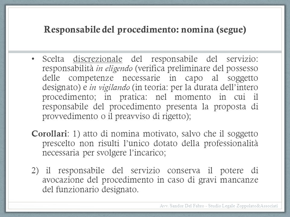 Responsabile del procedimento: nomina (segue)