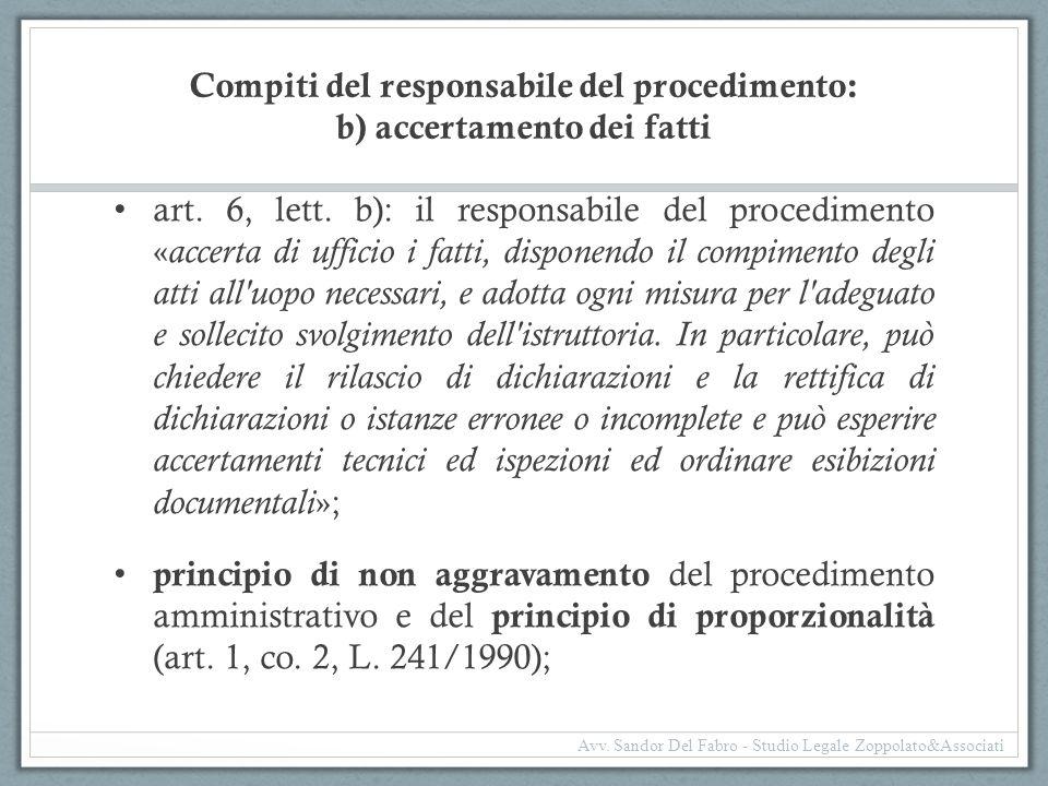 Compiti del responsabile del procedimento: b) accertamento dei fatti