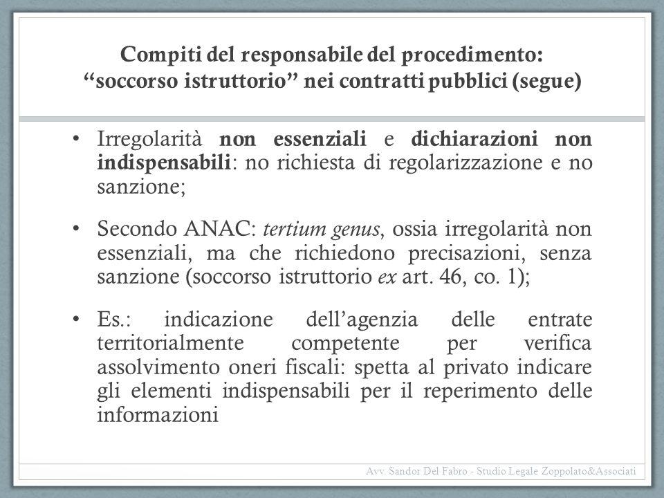 Compiti del responsabile del procedimento: soccorso istruttorio nei contratti pubblici (segue)