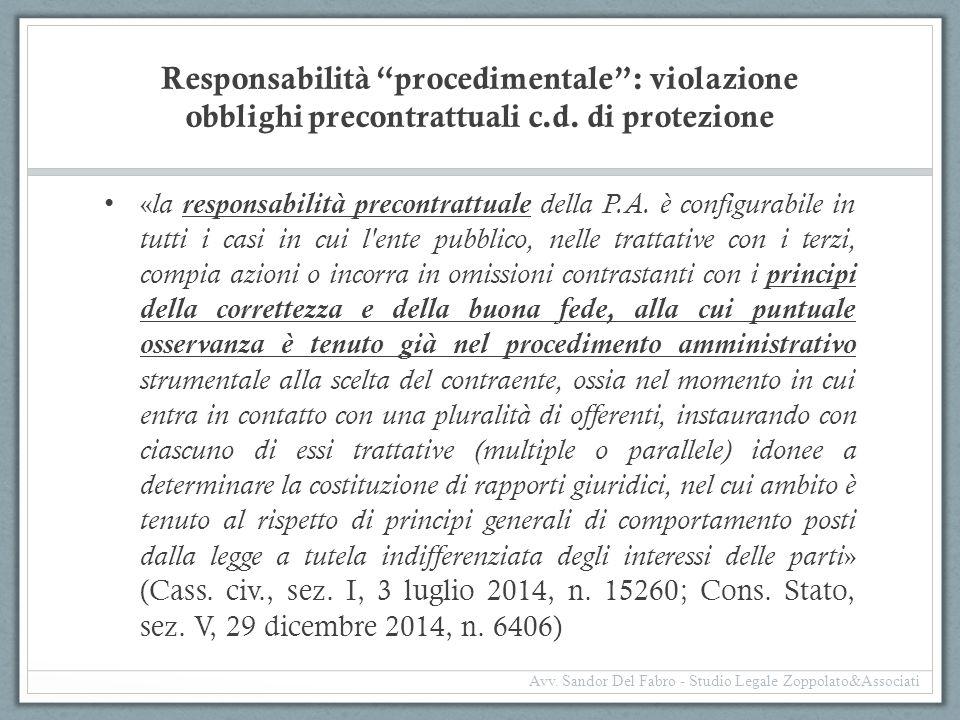 Responsabilità procedimentale : violazione obblighi precontrattuali c