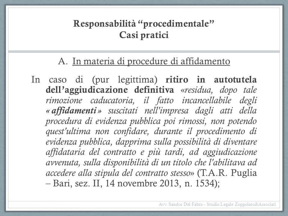 Responsabilità procedimentale Casi pratici