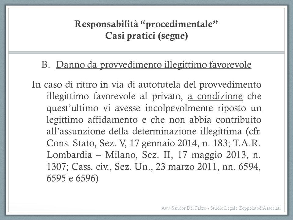 Responsabilità procedimentale Casi pratici (segue)