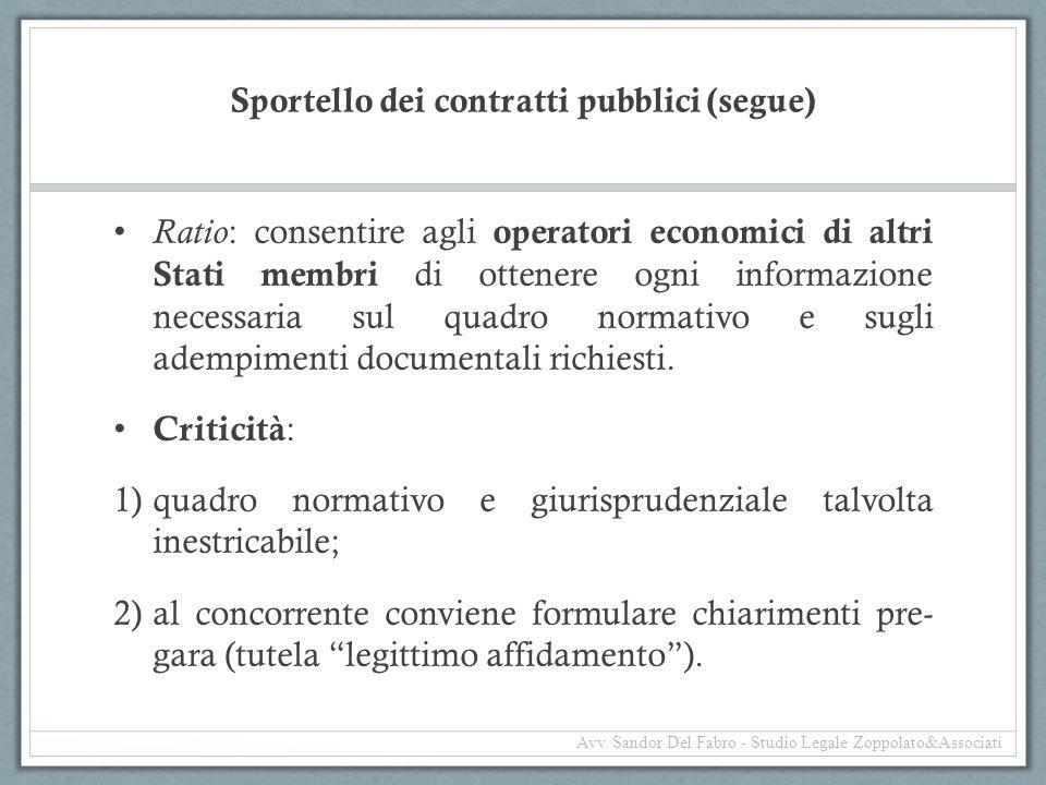 Sportello dei contratti pubblici (segue)
