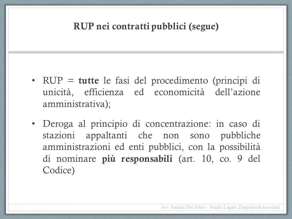RUP nei contratti pubblici (segue)